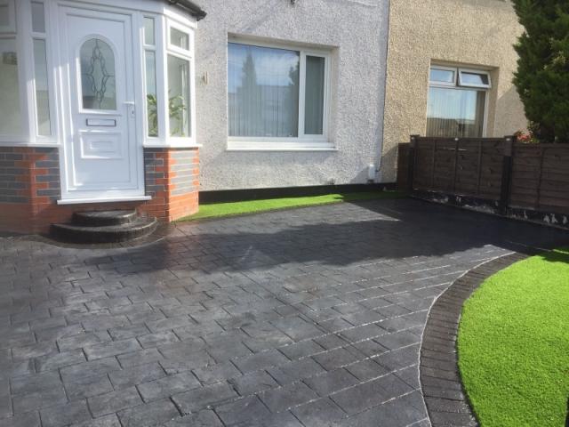 New driveway and artificial grass garden Wythenshawe 3