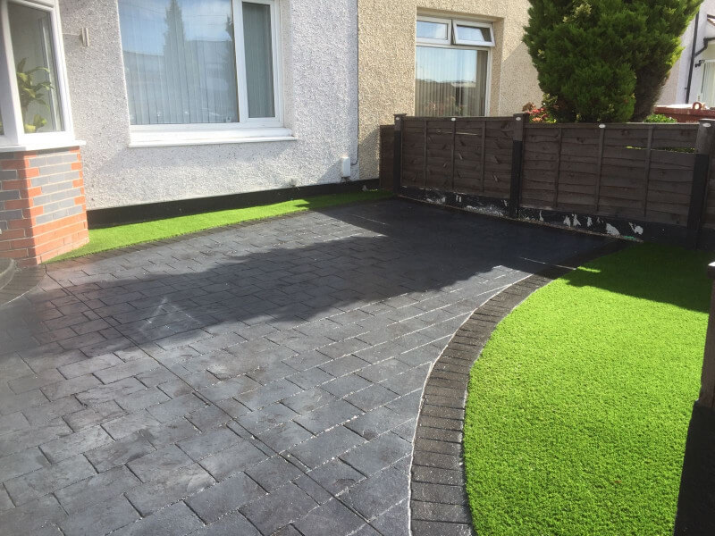 New driveway and artificial grass garden Wythenshawe