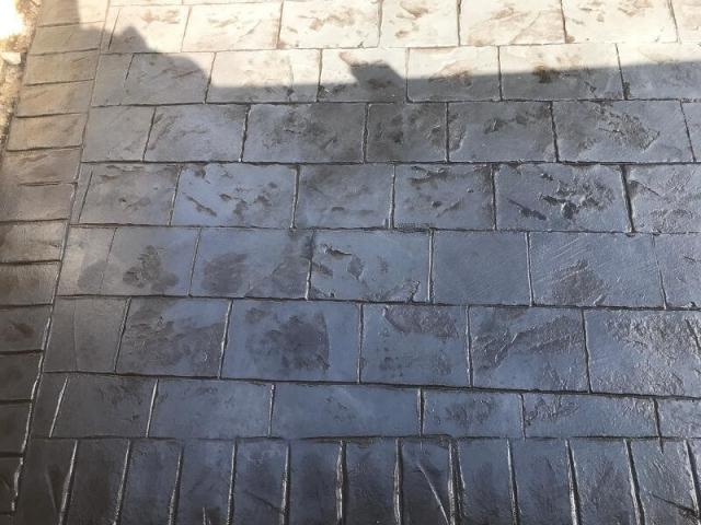 New pattern imprinted concrete driveway in Wythenshawe