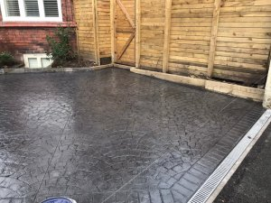 New pattern imprinted concrete driveway in Didsbury
