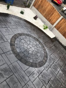 Pattern imprinted concrete driveway in Heald Green